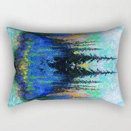 Blue Spruce Island Abstract Art Rectangular Pillow