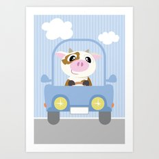 Mobil series car cow Art Print