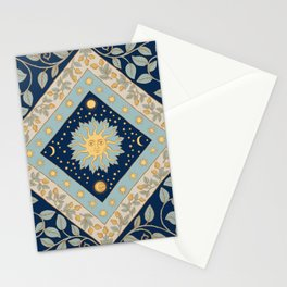 Sun Moon and Stars Celestial Blue Stationery Cards