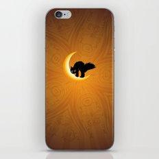 Black kitten on crescent moon iPhone & iPod Skin