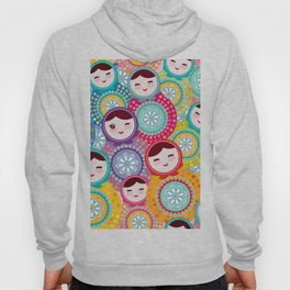 Russian dolls matryoshka, pink blue green colors colorful bright pattern Hoody