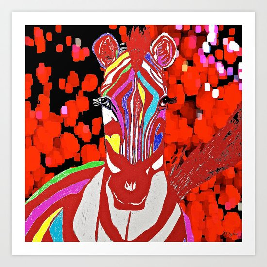 Zebra Red and White Art Print
