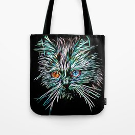 Odd-Eyed White Glowing Cat Tote Bag