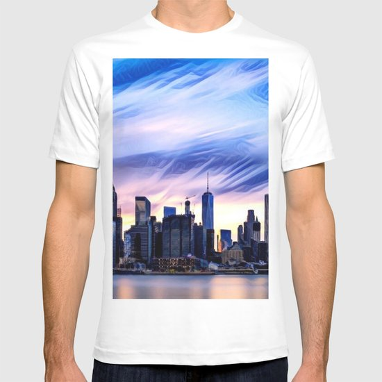 Romantic City Cityscape with Light Sunset and River T-shirt