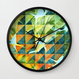 Abstract Geometric Tropical Banana Leaves Pattern Wall Clock