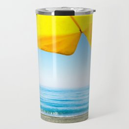 Yellow Beach Brolly with Blue Sea and Sky Travel Mug