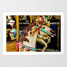 Carnival Carousel Horse with Feathers Art Print