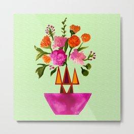 Watercolor Flowers with Geometric Accents Home Goods Design Metal Print