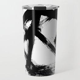 Brushstroke 5 - a simple black and white ink design Travel Mug