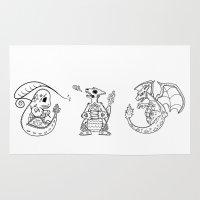 charizard Area & Throw Rugs featuring Pokémon de los Muertos: 004-006   Char-mander, Charmeleon, Charizard by Aaron Bowersock