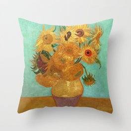 Vincent Van Gogh Twelve Sunflowers In A Vase Throw Pillow