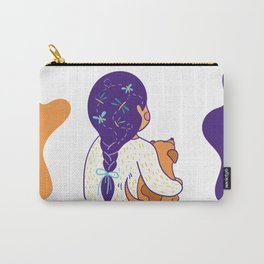 Purple haired Girl & Dog Carry-All Pouch