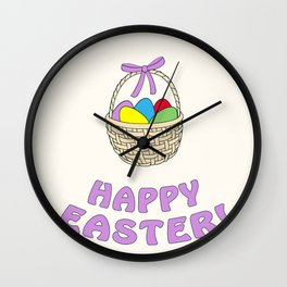 happy easter with basket Wall Clock