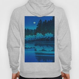 Vintage Japanese Woodblock Print Blue Forest At Night White Moonlight Mystical Trees Hoody
