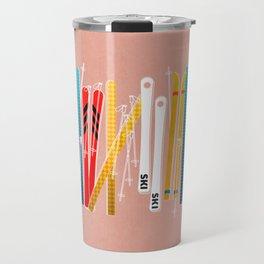Colorful Ski Illustration and Pattern no 2 Travel Mug