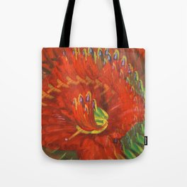 Abstract Red Daylily Tote Bag