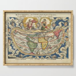 Vintage Map Print - 1553 map - Charta Cosmographica, Cum Ventorum Propria Natura et Operatione Serving Tray
