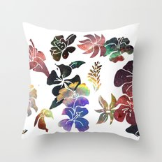 Tropical Flower Space Cut-Outs Throw Pillow