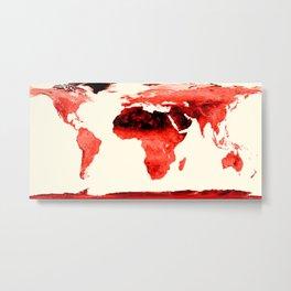 World Map brick red Metal Print