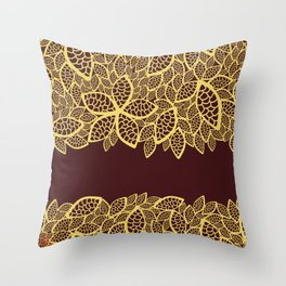 Oriental Persian Paisley, Leaves - Red Yellow Throw Pillow