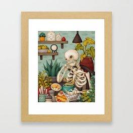 Endless Thoughts. Kitchen illustration with skeleton Framed Art Print