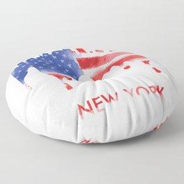 New York New York American Flag Gift Floor Pillow