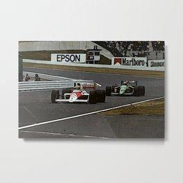 Ayrton Senna Formula 1 Battle Metal Print