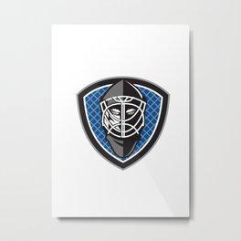Ice Hockey Goalie Helmet Crest Retro Metal Print