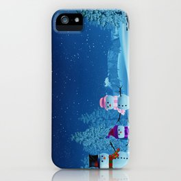 Snowman family in a moonlit winter landscape at night iPhone Case