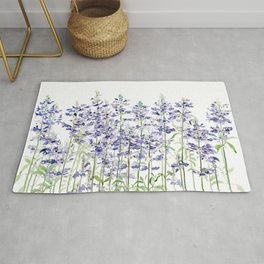 purple blue mealycup sage flowers watercolor   Rug