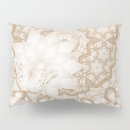 Butterfly on mandala in iced coffee tones Pillow Sham