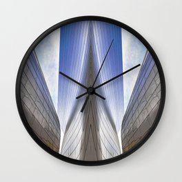 Architectural Abstract of a metal clad building looking skyward Wall Clock