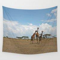 giraffes Wall Tapestries featuring Giraffes by wendygray