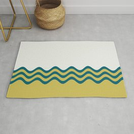 Off White, Dark Yellow and Tropical Dark Teal Inspired by Sherwin Williams 2020 Trending Color Oceanside SW6496 Wavy Horizontal Stripe Pattern 2 Rug