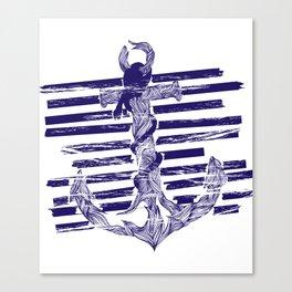 Castaway Navy Canvas Print