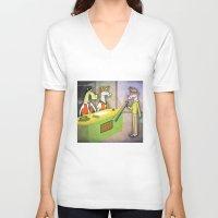 hologram V-neck T-shirts featuring Rainbow Hologram Unicorn by That's So Unicorny