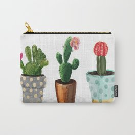 Three Cacti With Flowers On White Background Carry-All Pouch