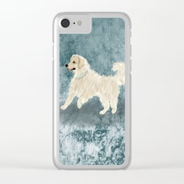 Watercolor English Golden Retriever Clear iPhone Case