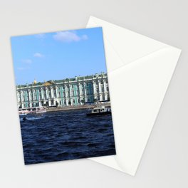 The facade of the Winter Palace. Embankment of the Neva River. Hermitage Museum. St. Petersburg. Stationery Cards