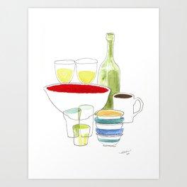 Bowls and Glasses Art Print