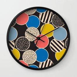 Memphis Inspired Pattern 6 Wall Clock