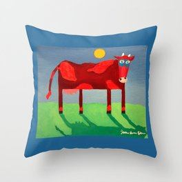 Udderly Confused - Funny Cow Art Throw Pillow