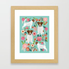 Jack Russell Floral Dog Print - jack russell art, jack russells, jack russell floral Framed Art Print