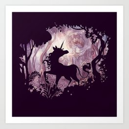 Unicorn in magical forest Art Print