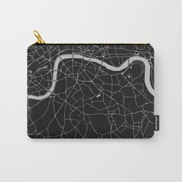 London Black on Gray Street Map Carry-All Pouch