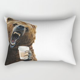 """ Grizzly Mornings "" give that bear some coffee Rectangular Pillow"