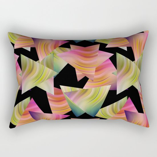 Abstraction . Rainbow triangles . Rectangular Pillow