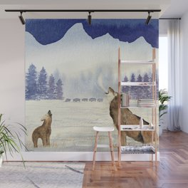 Howling Wolves At Grand Teton National Park Wall Mural