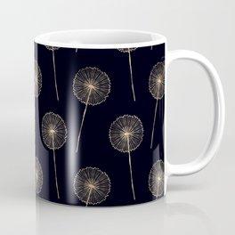 Rose-Gold dandelions pattern on black Coffee Mug