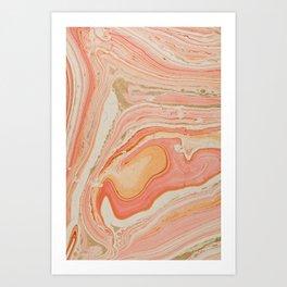 Orange Liquid Marble Art Print